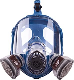 Induschoice Broad View Organic Vapor Full Face Respirator Mask Gas Mask Paint Pesticide Chemical Formaldehyde Anti Virus Respiratory Protection(Respirator +1 Pair Cartridges)