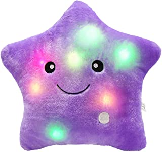 Bstaofy WEWILL Creative Twinkle Star Glowing LED Night Light Plush Pillows Stuffed Toys (Purple)
