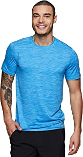RBX Active Men's Striated Super Soft Stretch Workout Running Athletic Training Short Sleeve Crewneck Tee Shirt Light Blue M