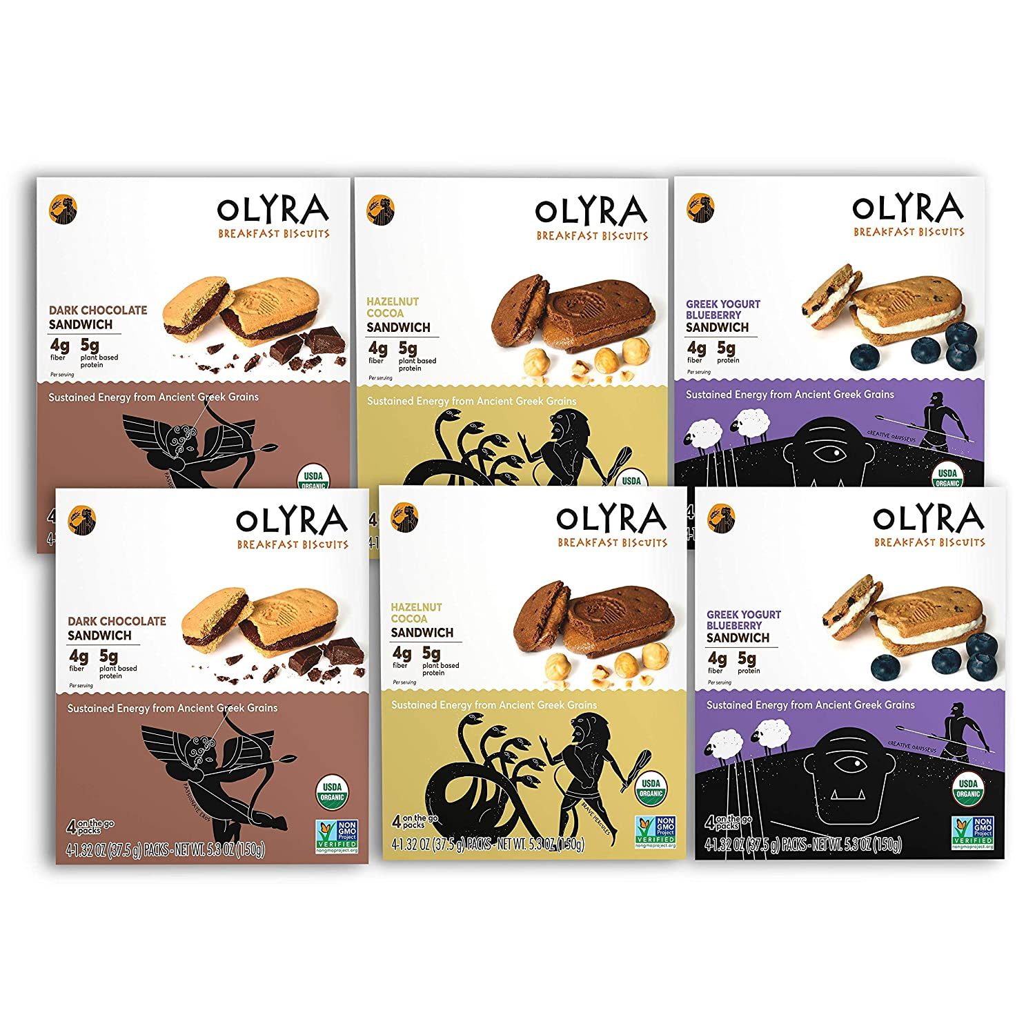 OLYRA Certified Organic Sandwich Biscuits Variety-Low Sugar High Fiber Protein Cookie (6 Boxes)