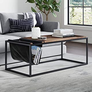 Nathan James Felix Modern Coffee Table Wood Tray Top, Vegan Leather Storage, and Industrial Matte Steel Rectangle Metal Frame, Nutmeg/Black