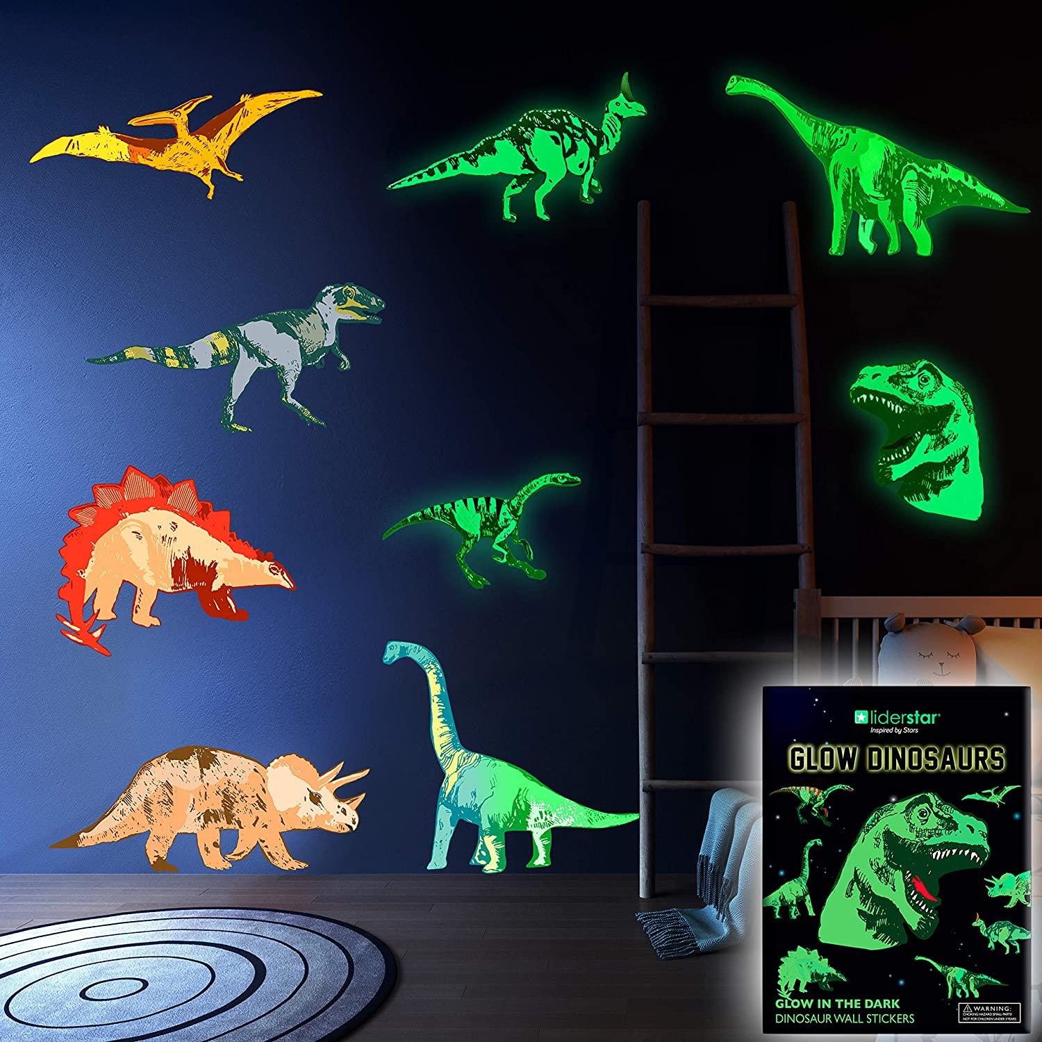 Dinosaur Wall Decals for Kids Room Glow in The Dark Stickers, Multicolor
