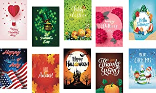 BeautifulLife Seasonal Garden Flags Set of 10 Bright and Shine - 10 Pack 12x18 inch Small Holiday Yard Flags - Double Side...