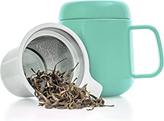Tealyra - Sumo Ceramic Turquoise Tea Cup Infuser - 13.5-ounce - Small Mug with Lid and Stainless Steel Filter For Loose Leaf Tea - Tea-For-One - 400 ml