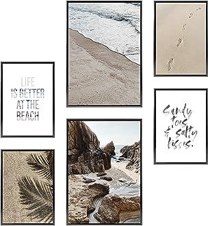 Stilvolles Set mit passenden Bilder in Schwarz-Wei/ß 4 St/ück in DIN A4 Heimlich /® Premium Poster Set | Mit Bilderrahmen Aluminium Silber /» CestLaVie /« 21x30cm