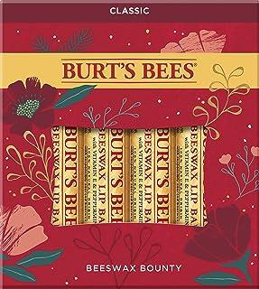 Burt's Bees Holiday Gift, 4 Lip Balm Stocking Stuffer Products, Beeswax Bounty Classic Set - Original Beeswax (New Version)