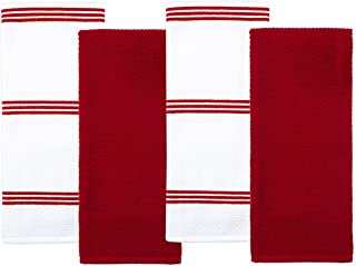 Sticky Toffee Cotton Terry Kitchen Dish Towel, Red, 4 Pack, 28 in x 16 in