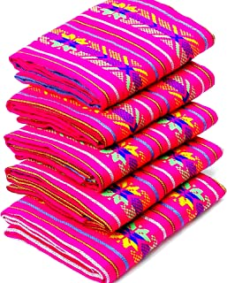 Mexican Fabric by The Yard, Aztec Fabric Yard,Tribal Fabric by The Yard, Boho Fabric, Ethnic Fabric, Hot Pink with Blue and Yellow Tribal Stars