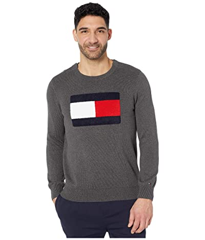 Tommy Hilfiger Adaptive Sweater with VELCRO(r) Brand Closure at Shoulders (Charcoal Heather) Men