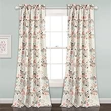 "Lush Decor 16T001678 Pixie Fox Room Darkening Window Curtain Panel Pair 84"" x 52"", Pink and Gray"