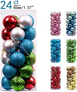 Valery Madelyn 24ct 40mm Joyful Elf Basic Ball Shatterproof Christmas Ball Ornaments Decoration,Themed with Tree Skirt(Not Included)