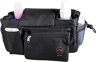 MomWise: Baby Stroller Organizer/Bag, Universal Design Made to Securely Fit Strollers. Includes Two Insulated Cup Holders, Extra Storage and Detachable Zipper Area, Black.