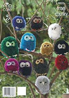 King Cole Tinsel Chunky & Dollymix DK Knitting Pattern Owl Animal Family 9022