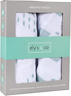 Bassinet Sheet Set 2 Pack 100% Jersey Cotton for Baby Girl and Baby Boy by Ely's & Co. - Sage Green Diamond Design by Ely's & Co. (Bassinet)