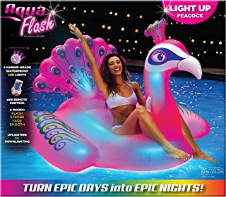 Aqua Oversized 6 Foot, Princess Peacock, 4 Mode, 16-Color Led Light-Up, Ride On, Inflatable Pool Float Lounge