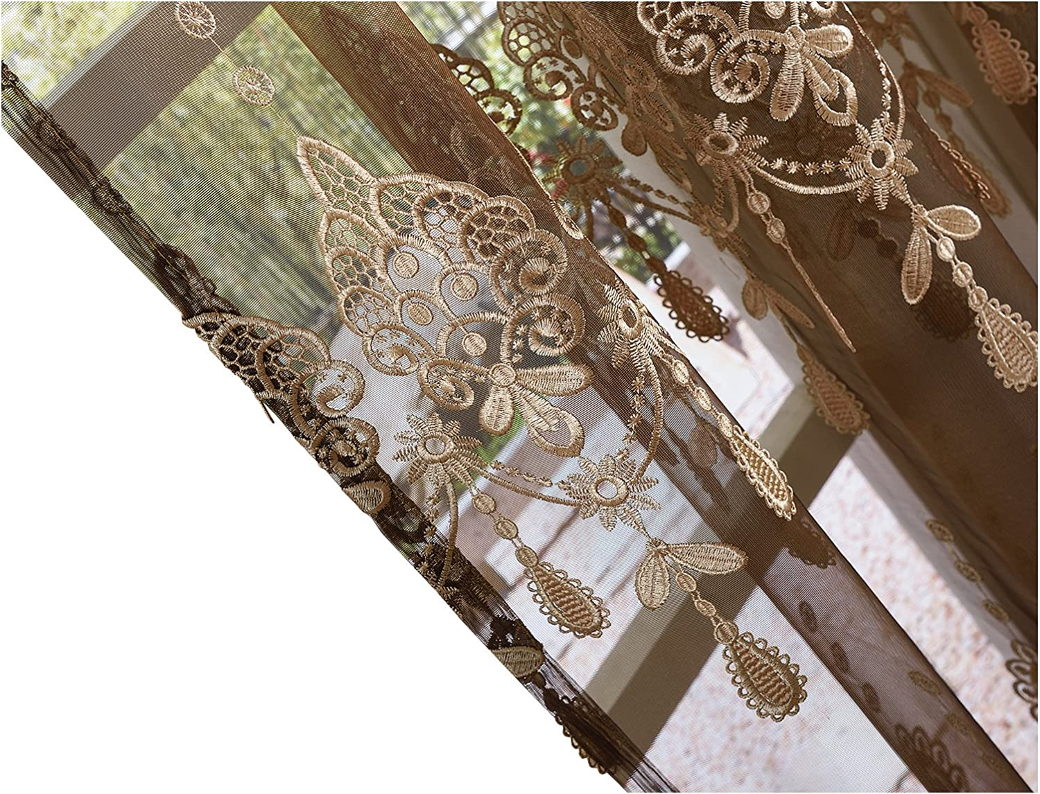 BW0057 Elegance Sheer Very popular! Curtains Sale special price Floral Embroidered Pocket Tra Rod