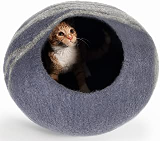 Twin Critters - Handcrafted Cat Cave Bed (Large) I Ecofriendly Cat Cave I Felted from 100% Natural Merino Wool I Handmade Pod for Cats and Kittens I Warm and Cozy cat Bed