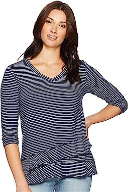Heathered Jersey Stripe 3/4 Sleeve Asymmetrical Flounce Hem Tee