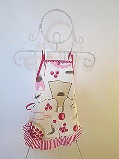 Tablier fille à froufrou en tissu écru avec des ustensiles de cuisine 4/6 ans -5-