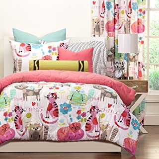 3 Piece Cuddly Kittens Themed Reversible Comforter Set Full/Queen Size, All Over Cats Bedding, Heart Stitching Pattern, Featuring Animal Motif Watercolor, Cat Lovers Design, Girls Bedroom, Multicolor