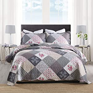 HoneiLife Quilt Set Queen Size - 3 Piece Microfiber Quilts Reversible Bedspreads Patchwork Coverlets Floral Bedding Set All Season Quilts-Grey Rose,Queen/Full Size