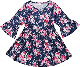 Toddler Kids Baby Girl Ruffle 3/4 Long Flare Sleeve Floral Party Dresses Clothes
