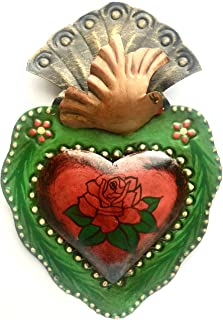 Tin Sacred Heart,with Dove and Beautifull Rose Milagro Ex Voto