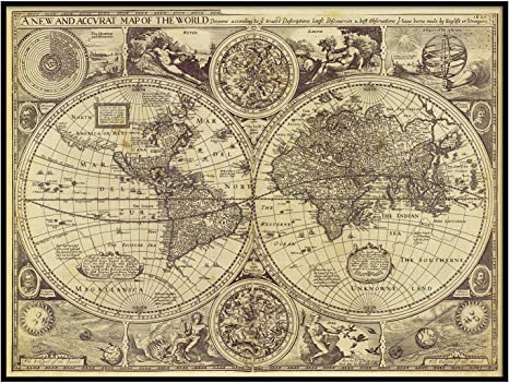 Amazon Com Historic Old World Map Vintage Map 1626 Old Antique Restoration Style Map Fine Art Print World Map Art Home Decor Housewarming Gift Posters Prints