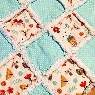Baby rag quilt lovey size sweet woodland scenes with owl butterfly mushroom