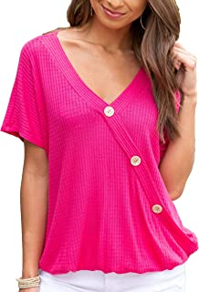 Women's Fashion Waffle Knit Button T-Shirt Blouses Loose Fit V Ncek Short Sleeve Casual Tunic Tops