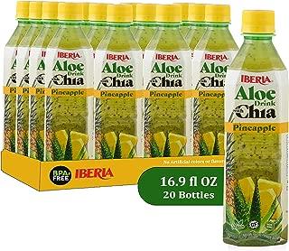 Iberia Aloe Vera Juice Drink With Chia Seeds, Pineapple, 16.9 Fl Oz (Pack of 24) Fat Free; Gluten Free; Vegan; Non-Gmo; BPA-Free