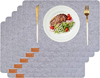 Aonewoe Felt Placemats Stain Resistant Washable Place Mats Anti Skid Table Mats for Dinner (Light Grey)