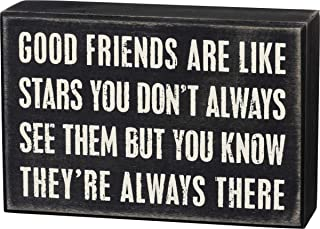 "Primitives by Kathy 17423 Box Sign, Good Friends, Wood, 6"" x 4"""