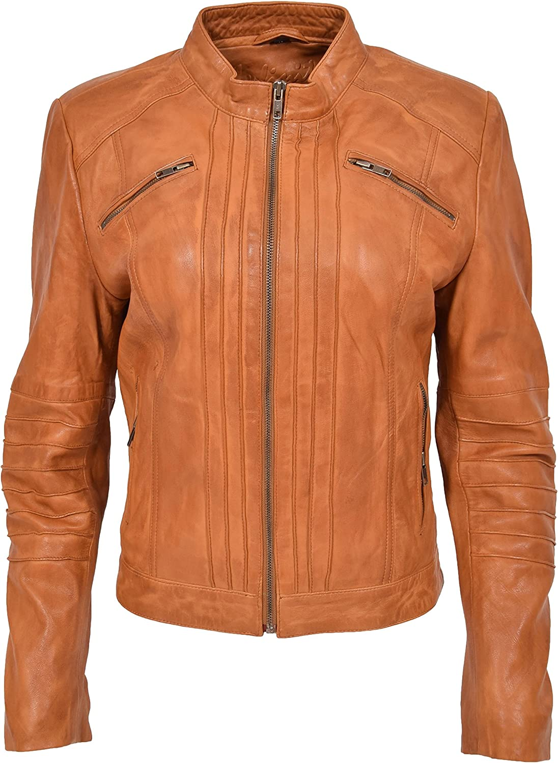 HOL Womens Soft Leather Classic Biker Style Casual Jacket Alice Tan