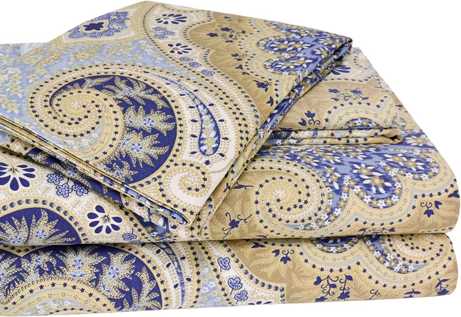Elite Home Products Milano Paisley Collection 300 Thread Count Sateen 4-Piece Sheet Set, Queen, bluee