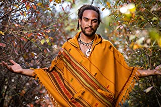 Handmade Orange Hooded Mens Poncho Cashmere Wool with Large Hood and Pockets Jungle Primitive Gypsy Festival Mexican Tribal Embroidered Celtic Earthy Winter Tibetan AJJAYA Wild …