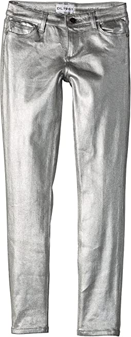 DL1961 Kids - Silver Coated Skinny Jeans in Silverado (Big Kids)