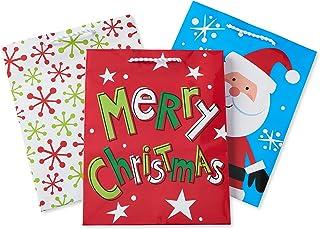 American Greetings Snowfalkes, Santa, and Lettering Gift Bag Bundle, Multi-Colored