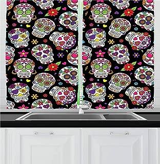 Ambesonne Sugar Skull Kitchen Curtains, Graveyard Mexico Mask Design on Black Backdrop Print, Window Drapes 2 Panel Set for Kitchen Cafe Decor, 55