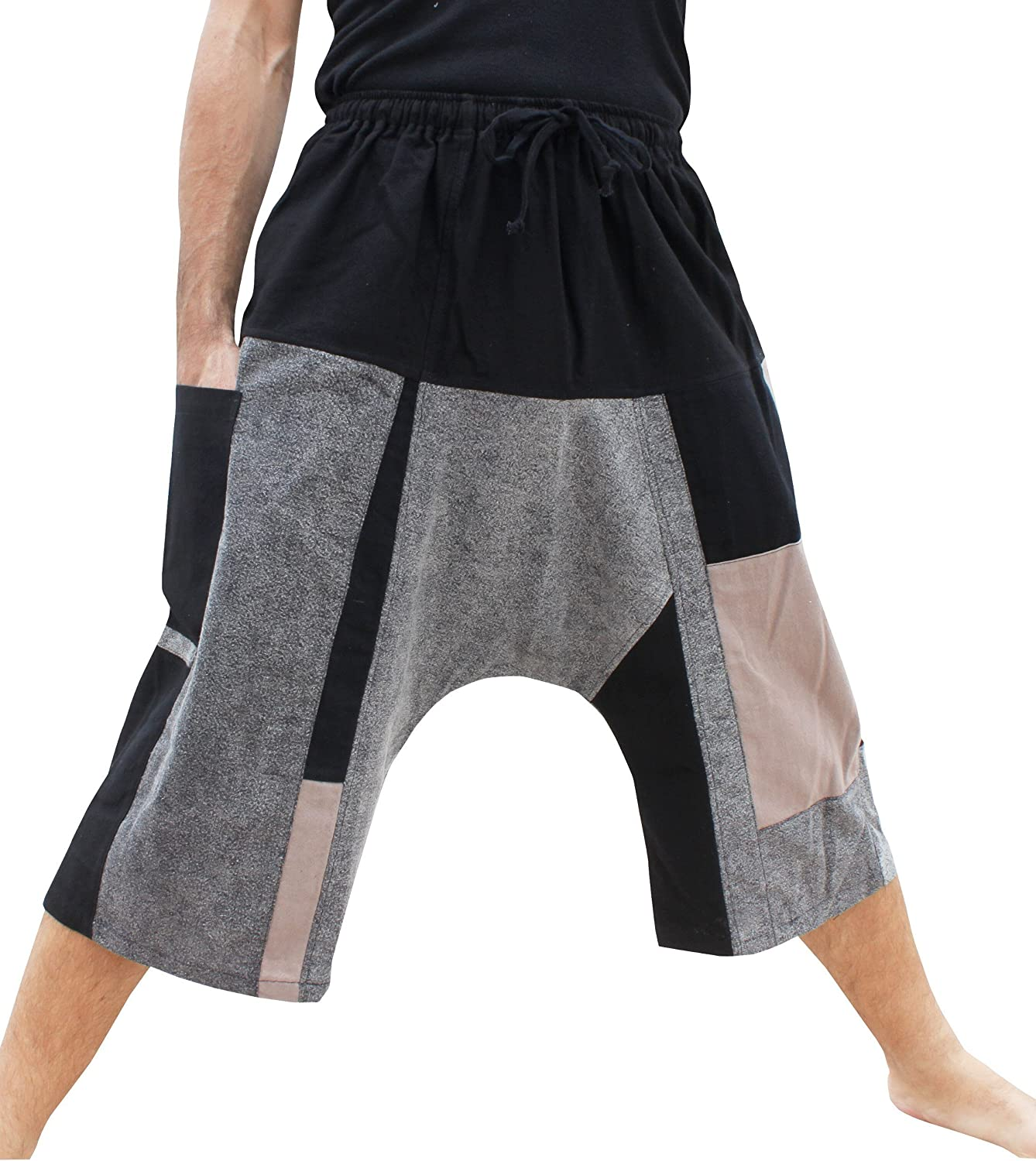 RaanPahMuang Stonewashed Patch Cotton Thai Big Sadaw Shorts with Pullsting Waist