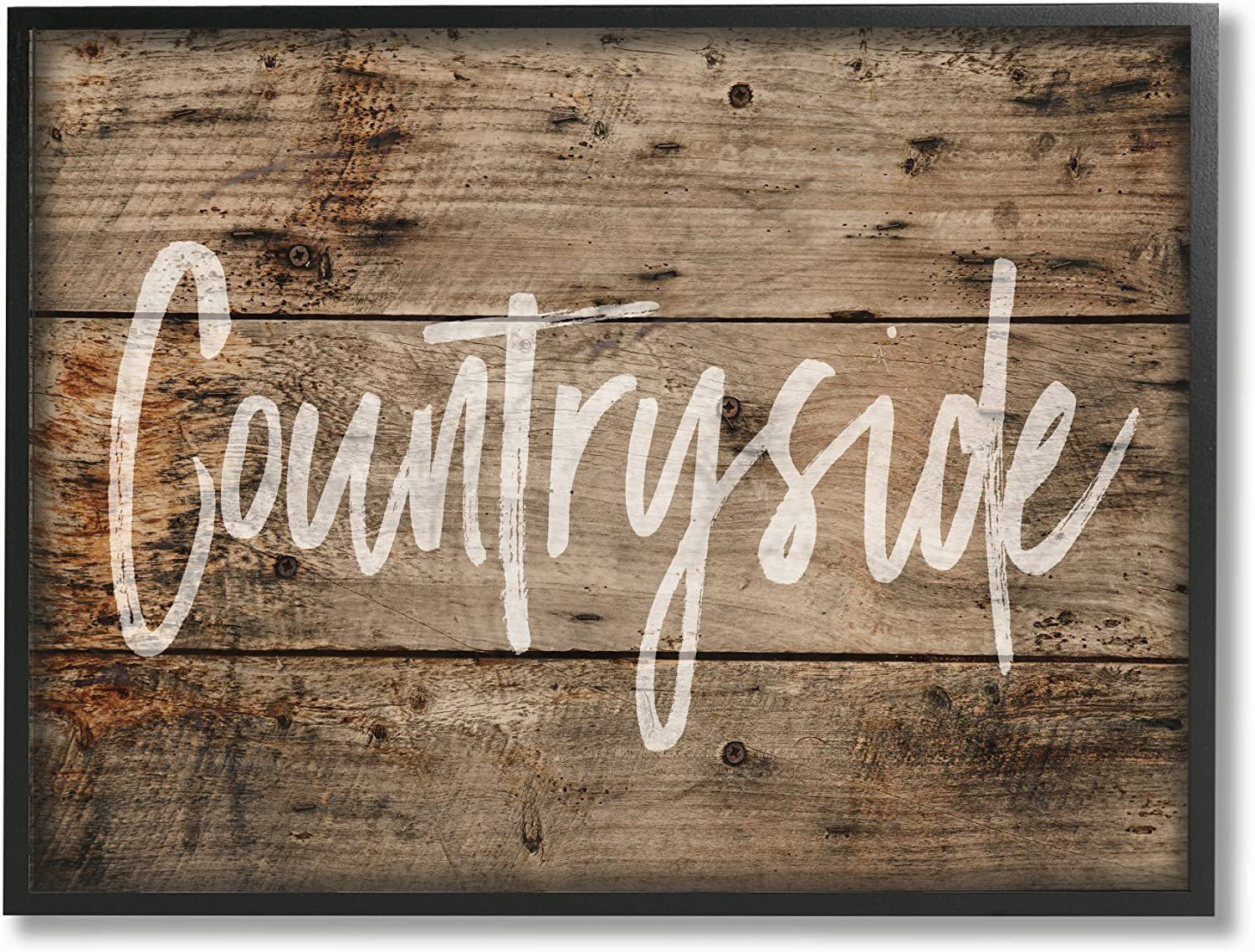 Stupell Industries mwp-350_fr_11x14 Countryside Distressed Plank Wood Look Framed Giclee Texturized Art