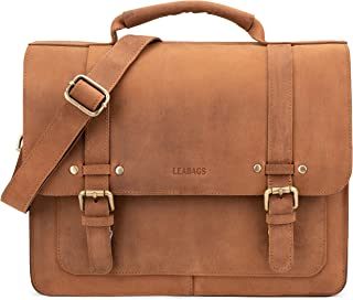 Omaha genuine buffalo leather briefcase in vintage style - Brown