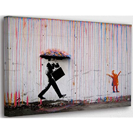 Banksy Graffiti Toile Art Décor Kid Playing in Colorful Rain Tableau Street Art Impression sur Toile Tableau Décoration murale salon moderne Avec Cadre (50x70cm(19.7x27.6inch))