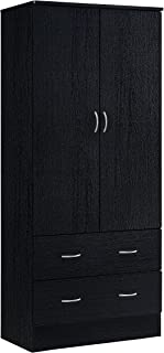 Hodedah Two Door Wardrobe, with Two Drawers, and Hanging Rod, Black