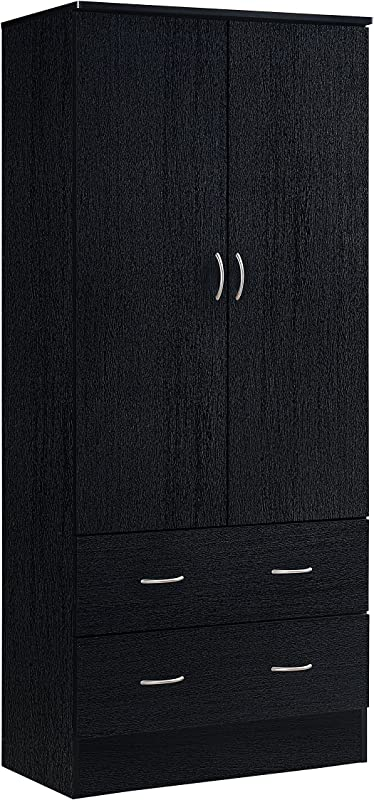 Hodedah Two Door Wardrobe With Two Drawers And Hanging Rod Black