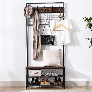 DYHOME Portemanteau,vestiaire entrée, Meuble d'entrée avec Étagère à Chaussures,avec 12 crochets, structure en métal, styl...