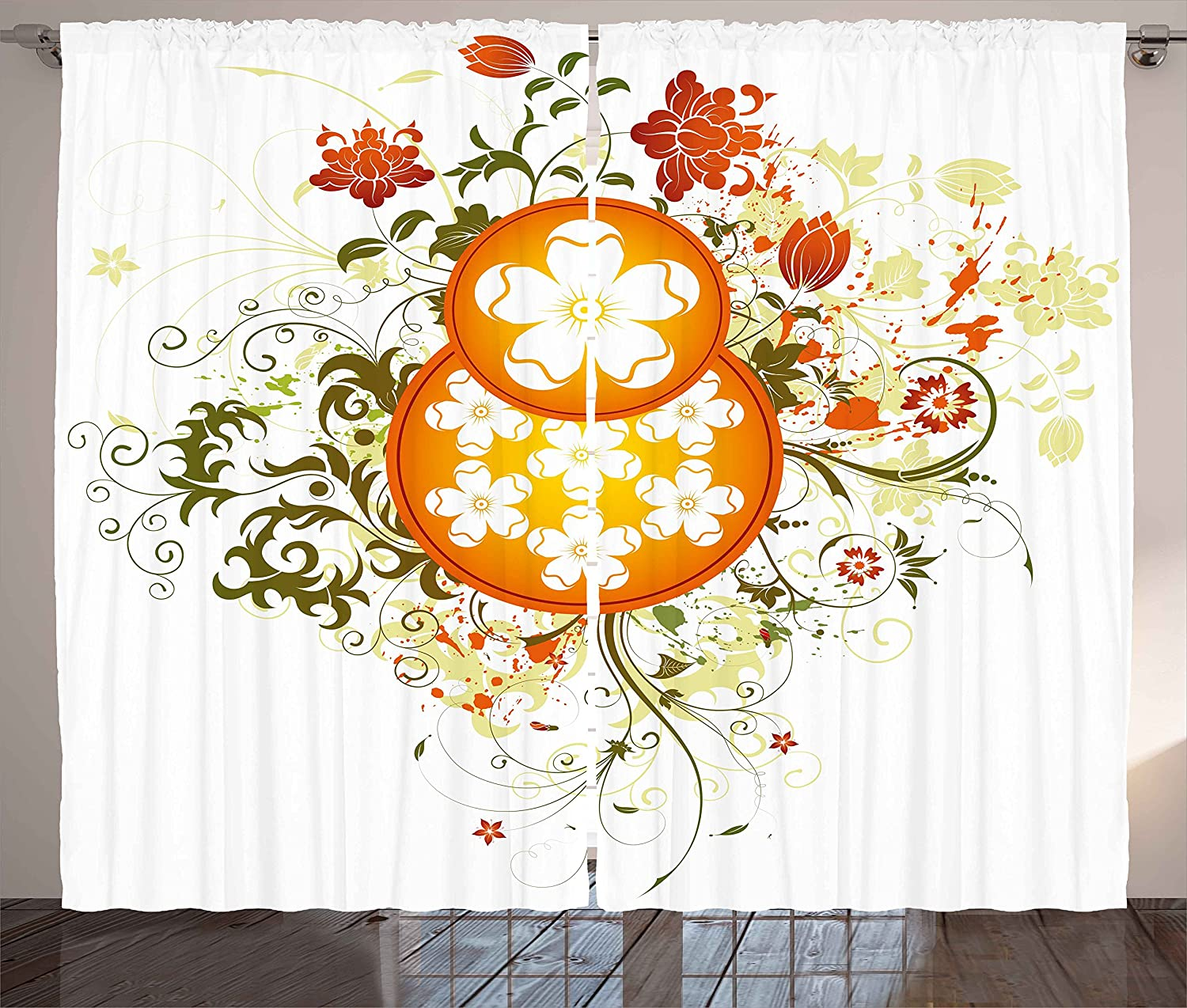 Ambesonne Floral quality assurance Curtains Max 43% OFF Swirled Circu with Background Flowers