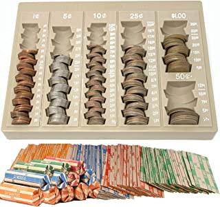 Coin Counter and Sorters Money Tray – Bundled with 64 Coin Roll Wrappers – 6 Storage Compartment Change Counter Organizer and Holder - Ideal Coin Dispenser Trays for Bank Tellers Business or Home Use