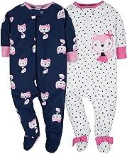 Gerber Baby Girls' 2 Pack Zip Front Sleep 'n Play