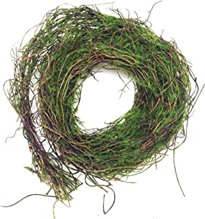 PEPPERLONELY 6 Feet Natural Dried Grapevine Twig Garland with Green Mossy Accents Throughout for Home Decor, Crafting and Embellishing